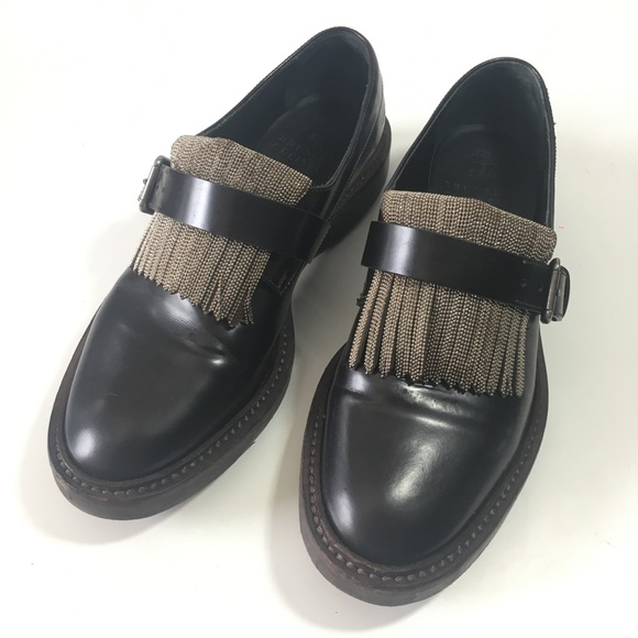 Brunello Cucinelli Brown Leather Loafers Fringe